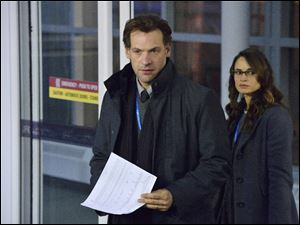 Corey Stoll and Mia Maestro in a scene from the new series '‍The Strain,' premiering Sunday.