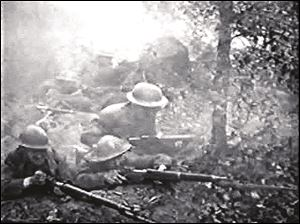 "A still shot from the 1919 silent film, ""The Lost Battalion,"" which featured several soldiers who survived the battle."