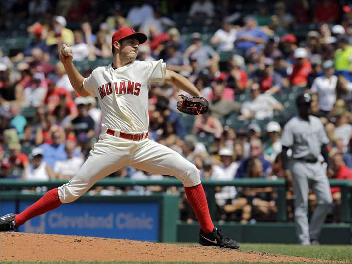 Cleveland Indians starting pitcher Trevor Bauer delivers against the Chicago White Sox.