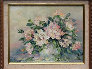 The late Gloria Hudson Sandusky was known for her lush florals and landscapes. Many of her paintings, frames, and supplies will be sold Friday and Saturday at her home, 7865 Summerfield Rd., Lambertville.