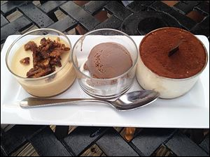 Dessert sampler (panna cotta, chocolate gelato, and tirimasu