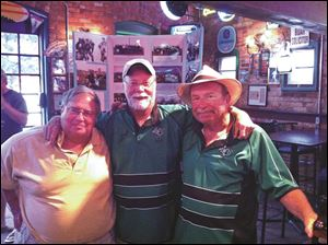 Toledo Celtics Rugby Football Club's post game party at the Bronze Boar  The two on the left are of the Club's first three Presidents: from left to right, myself, Bill, Bingle (the Club's founder), and Mike Fosnaugh.