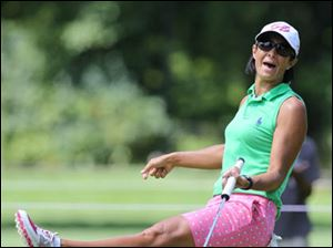 Laura Diaz reacts to her putt  on #2 hole during the first round of Marathon Classic.