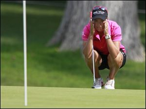 Lee-Anne Pace studies No. 14 Hole during the second round of the Marathon Classic.