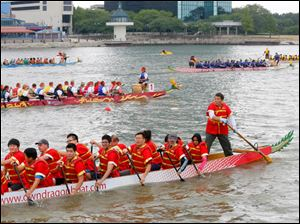 Dragon Boats hit the water during the 13th annual Dragon Boat Festival.