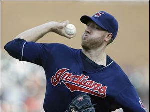 Cleveland Indians starting pitcher Zach McAllister throws during the first inning in the second game.