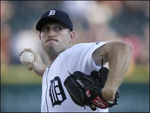 Detroit Tigers starting pitcher Max Scherzer throws during the first inning in the second game.