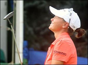 Lee-Anne Pace reacts to missing her birdie shot on the #18 hole.