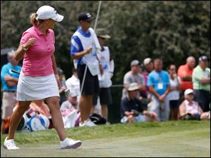 Cristie Kerr reacts to a birdie on No. 1 during the final round of the Marathon Classic.