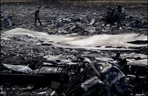 A man walks amongst charred debris at the crash site of Malaysia Airlines Flight 17 near the village of Hrabove, eastern Ukraine.