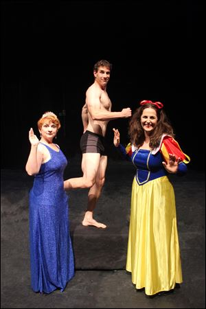 From left, Jennifer Lake as Sonia, Jeffrey Burden as Spike, and Pamela Tomassetti as Masha in the Glacity Theatre Collective's presentation of '‍Vanya and Sonia and Masha and Spike.'