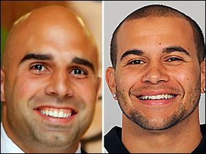 Bruce Gradkowski, left, and Lance Moore, right.