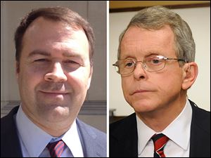 Democratic candidate for Ohio Attorney General David Pepper, left, and incumbent Mike DeWine, right.