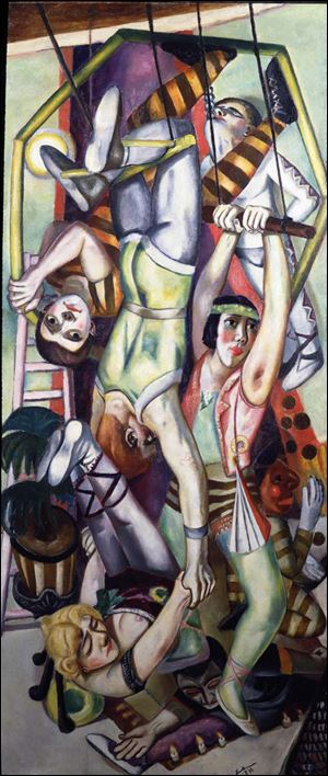 Works in the new show at the Toledo Museum of Art include '‍Trapeze,' oil on canvas, 1923, by Max Beckmann (German, 1884–1950).