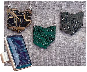 Circuit board jewelry pieces from jeweler Jaci Riley.