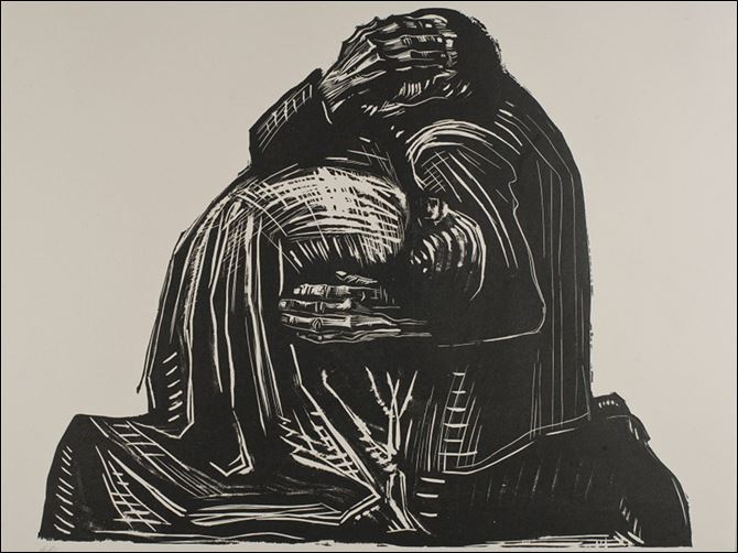 v'‍The Parents from Krieg (Wa '‍The Parents from Krieg (War),'‍ a woodcut, 1922–1923, by Käthe Kollwitz (German, 1876–1945). The work is one of 40 paintings, sculptures, and works on paper from the Toledo museum's collection in a show opening Friday in Gallery 18.