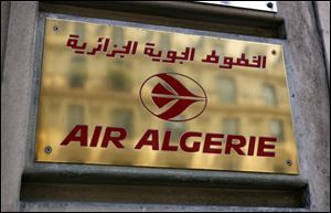 The logo of the Air Algerie company office, at the Opera avenue in Paris today.