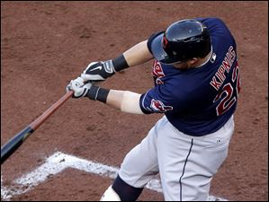Cleveland Indians' Jason Kipnis hits a two-run double.