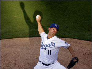 Kansas City Royals starting pitcher Jeremy Guthrie throws against the Cleveland Indians.