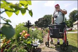 Dave Gilbert of Toledo examines his garden on Bellevue Road.