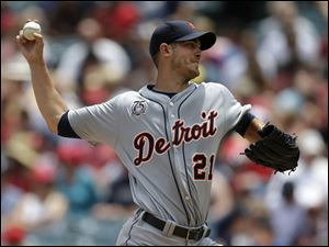 Detroit Tigers starting pitcher Rick Porcello throws against the Los Angeles Angels.