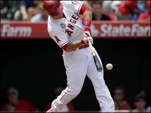Los Angeles Angels' Mike Trout hits a line drive.