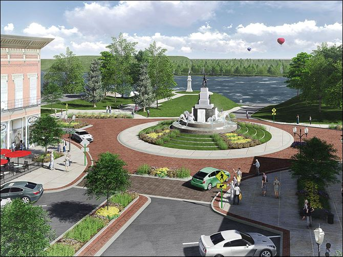 n4pburg-3 An artist's rendering of the proposed $2.3 million beautification and renovation project along downtown Perrysburg's Louisiana Avenue and Front Street  that would feature a local landmark, the statue of Commodore Oliver Hazard Perry, in the center of a  roundabout.