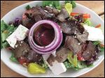 Greek salad with gyro meat at Theo's Mediterranean Cafe.
