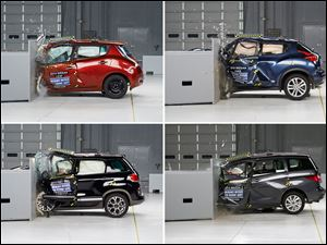 This combination made with photos provided by the Insurance Institute for Highway Safety shows, clockwise from top left: the 2014 Nissan Leaf, the 2014 Nissan Juke, the 2014 Mazda5 wagon, and the 2014 Fiat 500L during crash tests in 2014. These four vehicles fared worst in frontal crash tests.