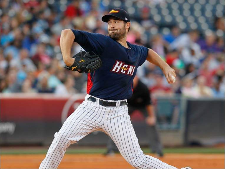 Toledo Mud Hens pitcher Robbie Ray throws against the Norfolk Tides.