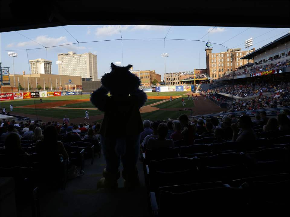Toledo Walleye mascot Catrick keeps an eye on the crowd at Fifth Third Field.