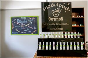 Various vapor flavors available at the Nicecloud e-cig store in Toledo.