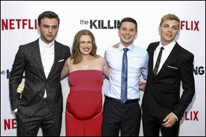 From left, Sterling Beaumon, Mireille Enos, Tyler Ross, and Levi Meaden attend Netflix's '‍The Killing' season four premiere.