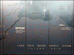 A schematic of the Lake Erie Water Supply System for Toledo, Ohio in one of the city's water treatment buildings.