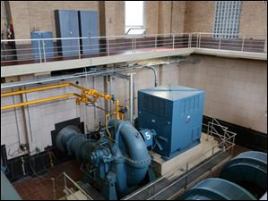 One of the six pumps in the high service pumping station at the water treatment facility.