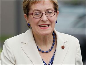 Rep. Marcy Kaptur (D-Oh.) outside the Lucas County EMA building in Toledo, Ohio.