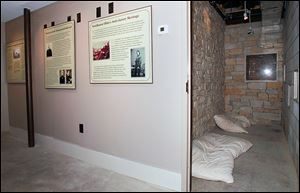 The concealed room in the basement of the historic Lathrop House in Sylvania once was a safe haven for slaves.