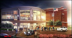 This is a rendering of the Marathon Center for the Performing Arts, to be completed in downtown Findlay in fall 2015. The Hancock County Performing Arts Center is hoping to raise $17 million to build and endow the facility.