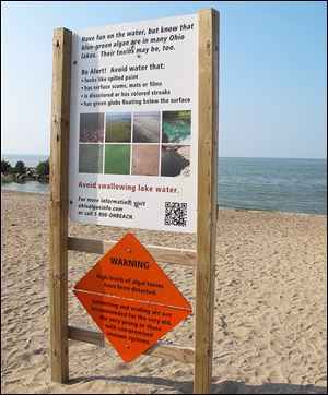 A sign says swimming and wading at Maumee Bay State Park aren't for everybody thanks to the algae bloom. Not many on Thursday chose to go in anyway.