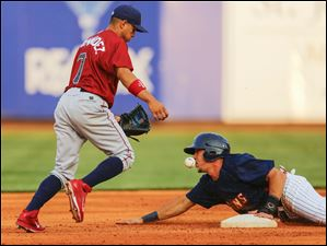 Toledo Mud Hens player Hernan Perez (26) steals second as Lehigh Valley Iron Pigs player Cesar Hernandez (7) can't handle the throw during the third inning.