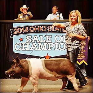 Hannah Frobose shows off her crossbred hog, Moby, while auctioneers look on during the 2014 Ohio State Fair.