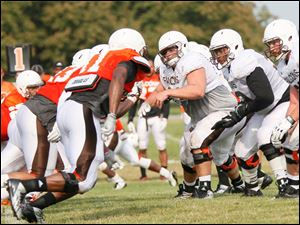 The left side of the offensive line during the scrimmage.