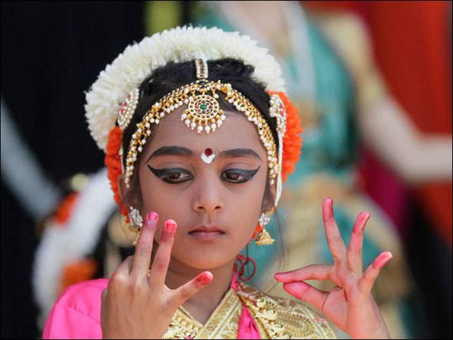 Neha Luke, 8, of Sylvania performs in a Varna on Lord Krishna.