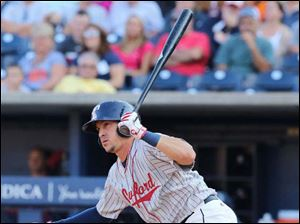 Toledo Mud Hens' Hernan Perez bats against the Lehigh Valley Iron Pigs.