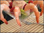 A beautiful serving suggestion for poached shrimp.