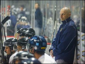 Toledo Walleye head coach Derek Lalonde keeps an eye on the action.