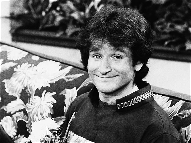n3mork-1 Actor Robin Williams on the set of ABC's '‍Mork and Mindy.' Mr. Williams had been battling severe depression before his apparent suicide Monday.