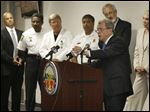 Ohio Attorney General Mike DeWine announces during a news conference at the Lucas County Emergency Center in Toledo a new pilot program to guide heroin addicts in their recovery. The program launched in June in­ves­ti­gates non­fa­tal over­dose cases by reach­ing out to fam­ilies and providing re­sources to get them into treat­ment.