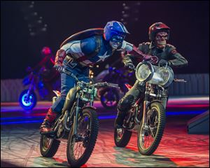 "Performers dressed as Marvel characters in the new live arena show called ""Marvel Universe Live!"""