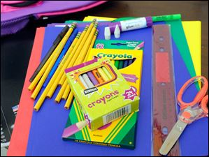 Some school supplies that were donated and given to children in a backpack.